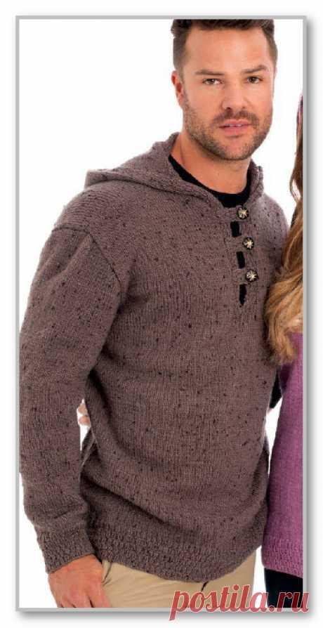 Вязание спицами. Описание мужской модели со схемой и выкройкой. Джемпер с капюшоном и застежкой поло. Размер 38/40-58/60