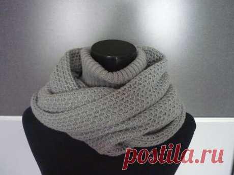Красивый и оригинальный шарф-капюшон с воротом (Вязание спицами) – Журнал Вдохновение Рукодельницы