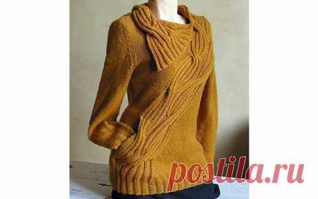 Пуловер горчичногоцвета Вязаный спицами пуловер горчичного цвета. Описание
