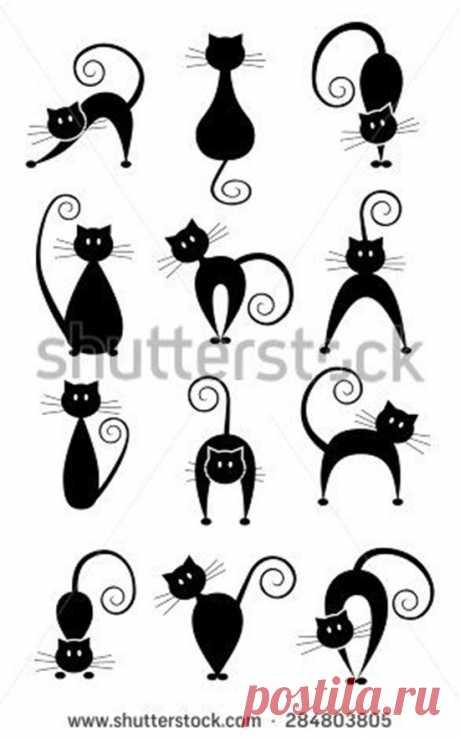 ✔️Трафареты кошек (шаблоны котиков) для рисования, вырезания, декора