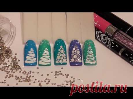 New Year's design! MK \ud83d\udc85 the simplest fir-trees \ud83d\ude0d! Nail art.