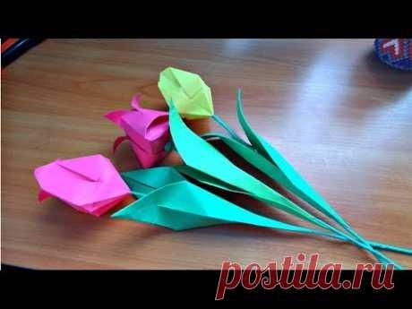 Как я делаю тюльпаны со стеблем и листочками. Букет весенних цветов в подарок на 8 марта