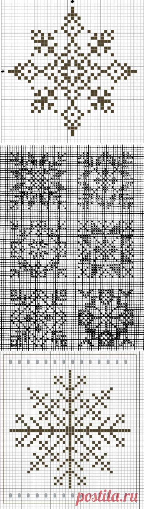 схема вязания спицами снежинки - Сумки