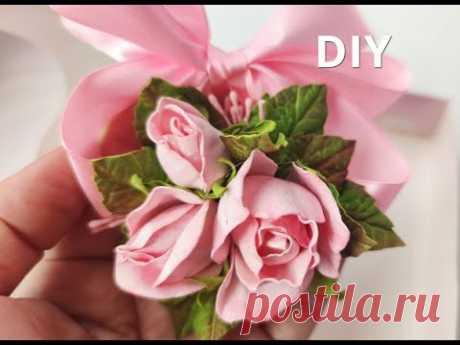 Бутоньерка с маленькими розами из фоамирана DIY Алла Шворак