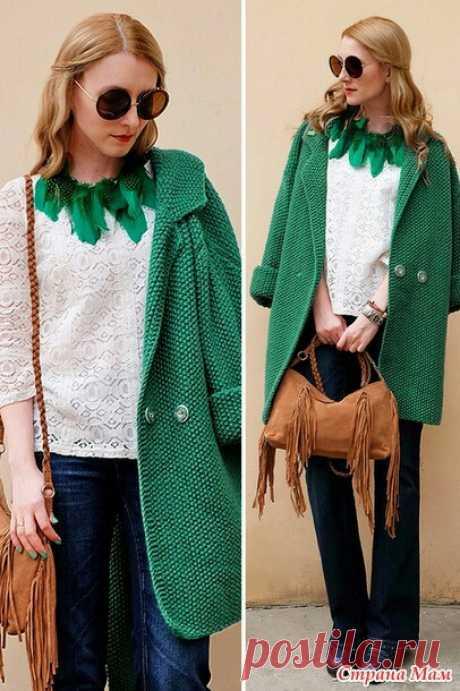 Вязаное на спицах пальто оверсайз (diy) Модная одежда и дизайн интерьера своими руками
