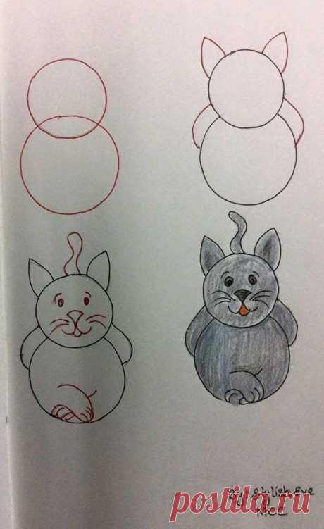 Одноклассники рисуем кошку