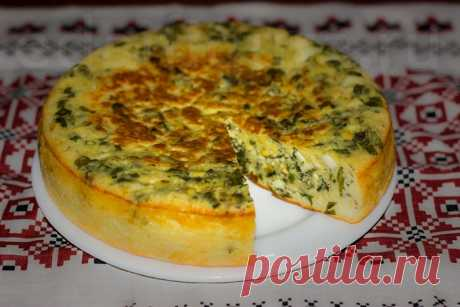 Ленивый пирог с зеленым луком и яйцом. в домашних условиях