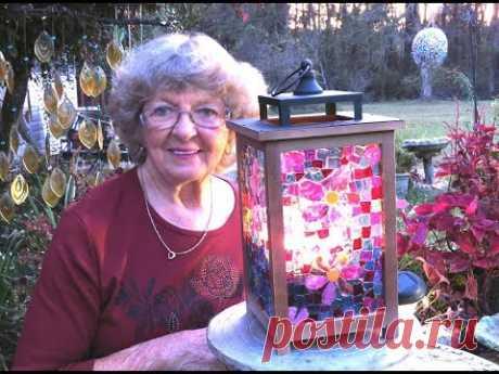 Декор фонарика мозаикой МК