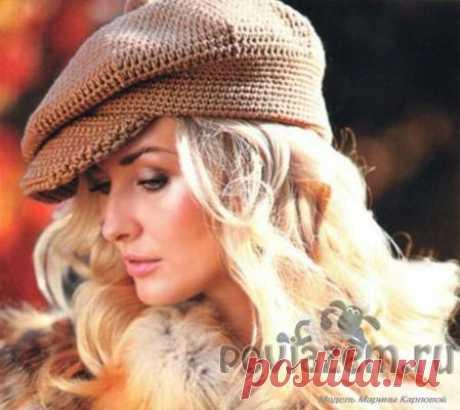 Красивая вязаная кепка
