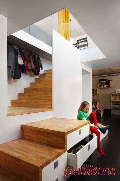 интересное решение: лестница + хранение