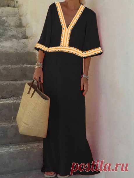 Women V-Neck Half Sleeve Geometric Print Loose Maxi Dress - US$19.99