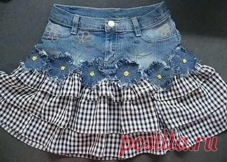 Как сшить юбку с оборками для девочки из старых джинсов