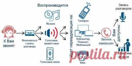 Продвинутая обработка входящих звонков. Возможны - запись разговора, приветствие, голосовое меню, голосовая почта, обработка выбора в меню, переадресация на мобильный телефон сотрудника. Так же доступны отчеты о совершенных звонках и записи разговоров. / #it_rinamax
