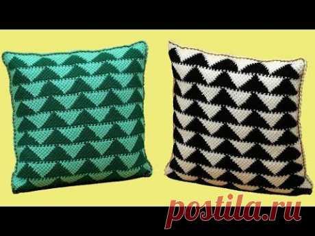 "Подушка тунисским крючком с узором ""Треугольники"". Отделка сутажным шнуром! Crochet pillow."