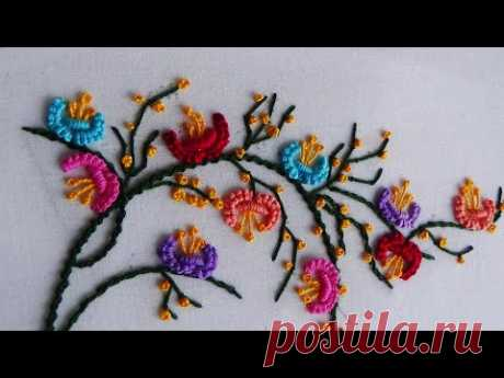 Hand Embroidery: Mixed Brazillian Embroidery On Branches