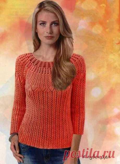 Два элегантных пуловера спицами.  Пуловер с круглой кокеткой   Разнообразие узоров переходящих из одного в другой, притягивает взгляд. Пуловер спицами для женщин, схемы и описание.Размеры:42/44 (46/48)Вам потребуется:450 (500) г о…