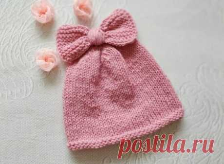 Милая весенняя шапочка с бантиком на девочку спицами » «Хомяк55» - всё о вязании спицами и крючком