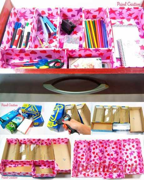 Como Fazer Organizador de Gavetas Reciclado | Painel Criativo