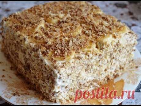 Нежный торт без выпечки с творожным кремом