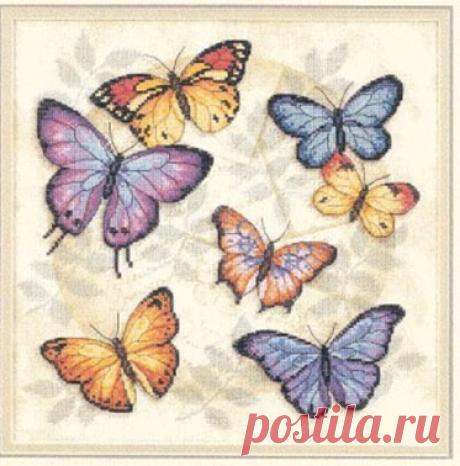 Бабочки: 15 редких схем   Embroidery art   Яндекс Дзен