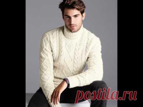 Мужской Белый Джемпер Спицами - 2018 / Male White Sweaters / Männliche weiße Pullover