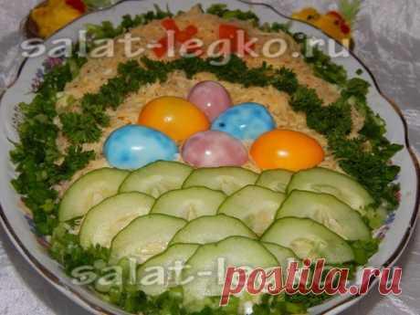 Салат к Пасхе с печенью трески
