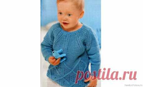 Пуловер с рукавами реглан. Описание   Вязание спицами для детей Круглая кокетка - интересное решение для пуловера с рельефными узорами. Пуловер с рукавами реглан связанный спицами, схемы и описание.Размеры:56/62 (68/74) 80/86Вам потребуется:пряжа (100% овечьей шерсти; 105 м/50 г) - 150 (200) 250 г пастельно-бирюзовой; спицы и круговые спицы №4и...