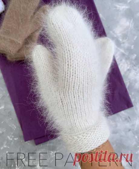 Варежки из пуха норки связанные спицами, Вязание для женщин