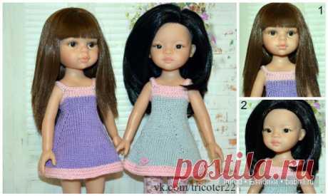 Описание летнего сарафан спицами для кукол типа Паола Рейна 32 см / Вязание для кукол / Бэйбики. Куклы фото. Одежда для кукол