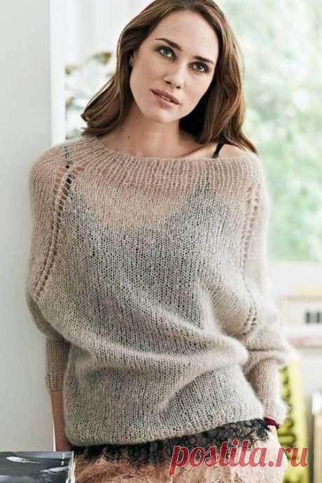 Тонкий свитер спицами из мохера: схема и описание
