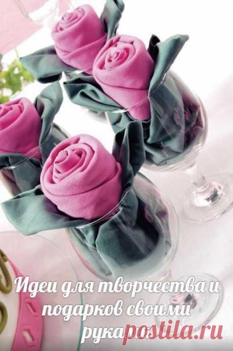 Салфетки, сложенные в форме роз