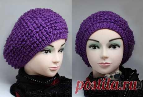 Женская вязаная шапка спицами и крючком, вязание беретов со схемами