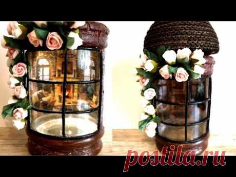 Glass jar decor ,Reverse decoupage on glass - YouTube