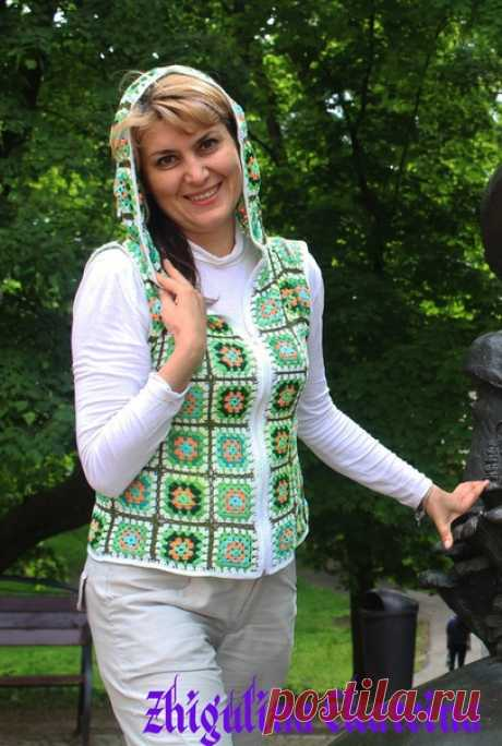 Утилизация остатков пряжи в летний жилет)))