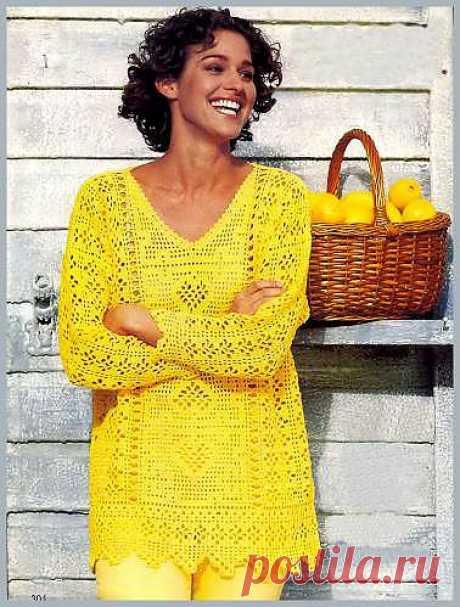 Желтый пуловер крючком с коллажем узоров. Филейное вязание крючком. - Схемы вязания кофты - Схемы для вязания - Уроки вязания крючком - Вязание крючком, мотивы, схемы для вязания крючком