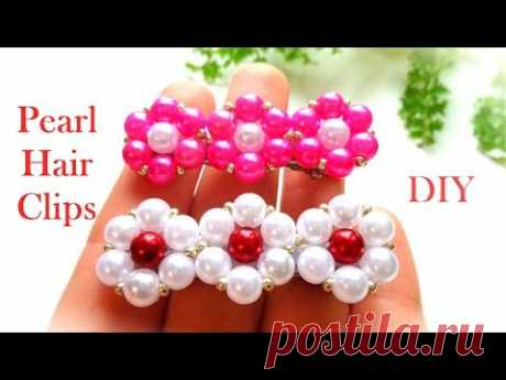How to Make Hair Clips Using Pearls| Hair Accessories Making at Home| DIY Fashion Pearl Hair Clips