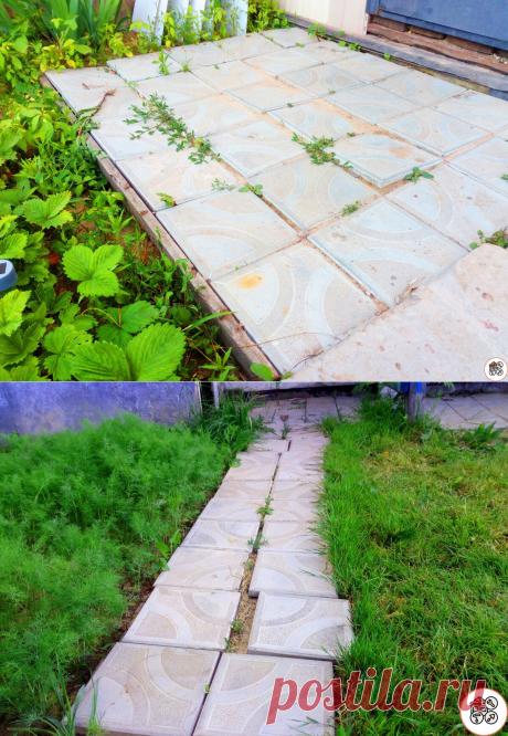 Сделал площадку из плитки возле дома, положив их прямо на землю с песком без цемента.Показываю, что с ней стало через 12 месяцев | Ремонт в доме | Яндекс Дзен