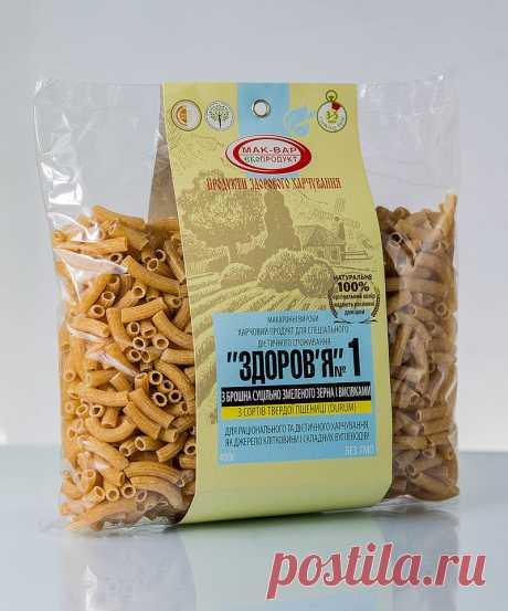 Макароны «ЗДОРОВЬЕ» №1 из цельносмолотого зерна твердых сортов (0,4 кг) Состав: мука из цельно смолотого пшеничного зерна твердых сортов пшеницы (дурум), отруби пшеничные (5%), вода питьевая. Вкус: оригинальный злаковый привкус, можно сравнить со вкусом хлеба с отрубями. Содержат клетчатку и зародыш зерна, снижают вес, холестерин, сахар, устраняют дисбактериоз, выводят шлаки и токсины. Могут употреблять люди страдающие диабетом!