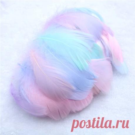 Гусиные перья 6-12 см 100 шт, 14 цветов + микс 2 варианта