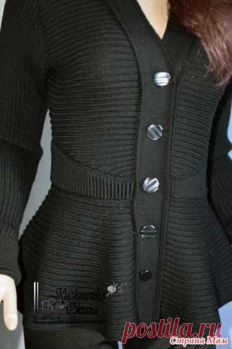 . Жакет с баской - Машинное вязание - Страна Мам
