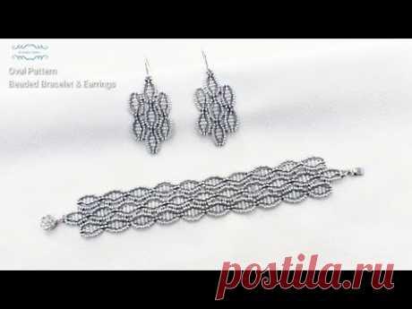 Oval Pattern Beaded Bracelet & Earrings. Beads Jewelry Making. Beading Tutorials.