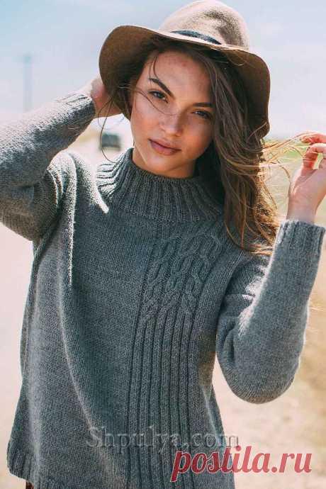 Пуловер резинкой и косами спицами,  пуловер спицами описание схема, вязаный пуловер спицами,свитер с аранами схема вязания пуловера спицами,  женский пуловер вяжем, пуловер с ромбами спицами, пуловер с косами, пуловер реглан спицами, вязание спицами для женщин с описанием, узор косы, схемы вязания, сайт о вязании, интернет магазин пряжи, купить пряжу из кашемира, шпуля.ком