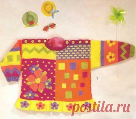 Разноцветная кофточка с цветами для детей | Вязание спицами и крючком – Азбука вязания