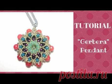 "Tutorial perline: ciondolo ""Gerbera"" | beading tutorial: ""Gerbera"" pendant"