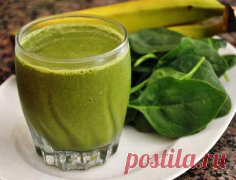 Зеленый коктейль - рецепт с бананом