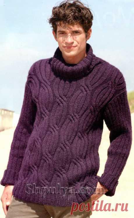 Мужской свитер с косами, вязаный спицами - SHPULYA.com