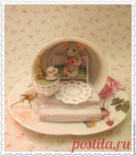 Мастерим сказочный домик в чашке для маленького мышонка – Ярмарка Мастеров