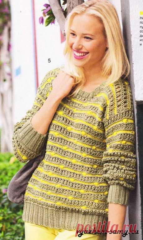 The summer pullover in a strip impresses the Easy daily summer pullover with absolutely new design of patterns from yellow and gray strips. Scheme. Description.