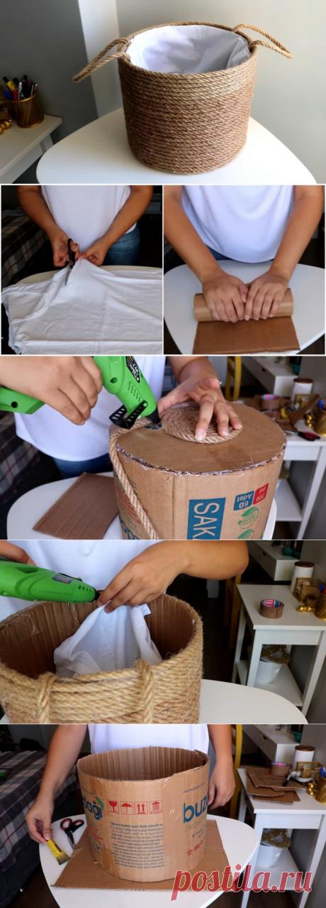 Мастерица разрезала картонную коробку, взяла майку и сделала отличную вещь для дома