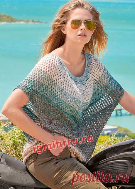Летний пуловер оверсайз с сетчатым узором. Вязание спицами со схемами и описанием